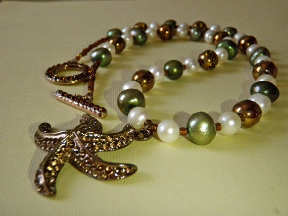 Summer starfish and freshwater pearl necklace