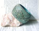 Marsh Green Lace Wooden Bohemian Cuff  Bracelet