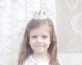 Vintage  White Gold Lace Crown/Tiara newborn, baby or child photography prop/birthday accessory/Keepsake