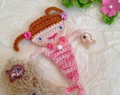 Little Mermaid Lynne Crocheted Pink Variegated Floss with Pretty Glass Bead Neckclace and Buttons Hair Ties