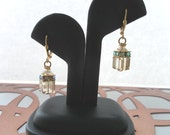 SALE - Paper Lantern Earrings in Golden Haze - Champagne Swarovski Crystal Cubes and Rhinestones on Gold Leverback Earrings