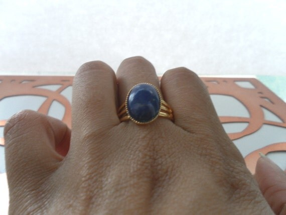 Stone Healing Ring - Blue Lapis Lazuli - Knowledge, Wisdom, and Self Acceptance  - Adjustable Ring