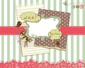 Vintage Digital Scrapbook Papers. Hand dawn Paper and Clip Art Pack