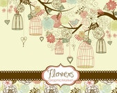 14 Flower Designs, digital paper and a floral border - Clipart for scrapbooking, wedding invitations, Personal and Small Commercial Use.