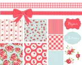 Shabby Chic Digital Scrapbook Papers. Vintage Frames and Floral Clip Art Pack