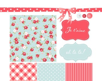 Shabby Chic Digital Scrapbook Papers. Mother's Day Paper and Clip Art Pack
