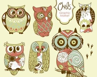 Owl clip art and digital paper set