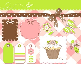 Sweet Digital Scrapbook Kit - ribbons, labels, frames, bow, butterfly, flowers and even a cupcake