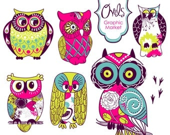 6 Owls clip art and digital elements set