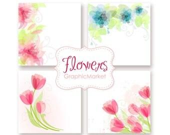 Wedding Digital Floral clip art for wedding invites, scrapbooking. 4 Printable Wedding Invitation Card Templates
