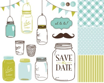 14 Hand Drawn Mason Jars and polka dot digital paper - Clip art for scrapbooking, wedding invitations, Personal and Small Commercial Use.