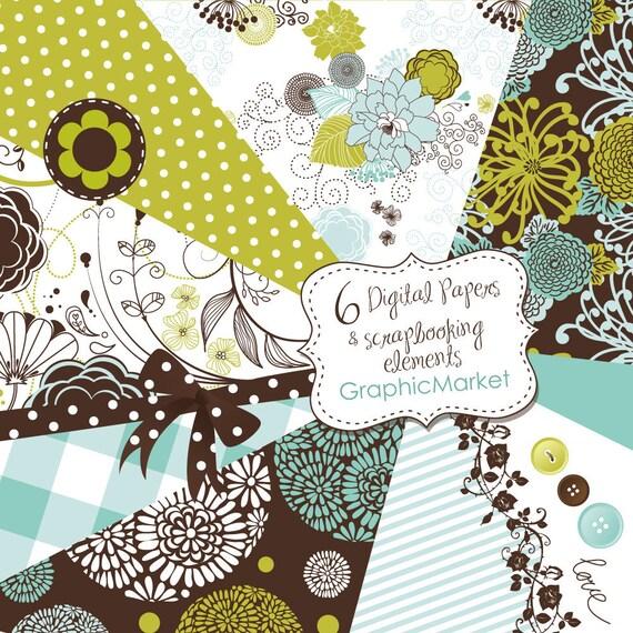 Digital Scrapbook Papers set. Hand dawn Paper and Clip Art Pack