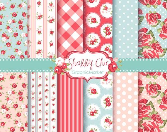 12 Shabby Chic Rose Digital Scrapbook Paper pack for invites, card making, digital scrapbooking