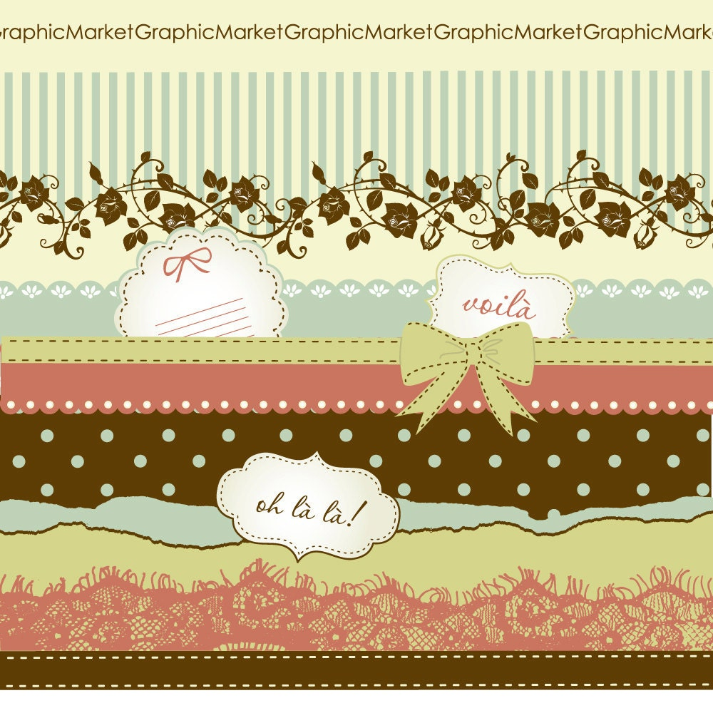 How to make scrapbook paper designs - Vintage Digital Scrapbook Papers Hand Dawn Paper And Clip Art Pack