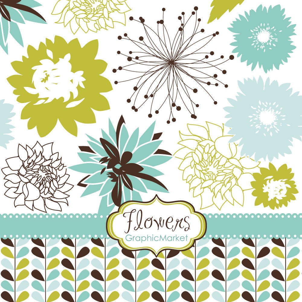 10 Flower Designs Clipart