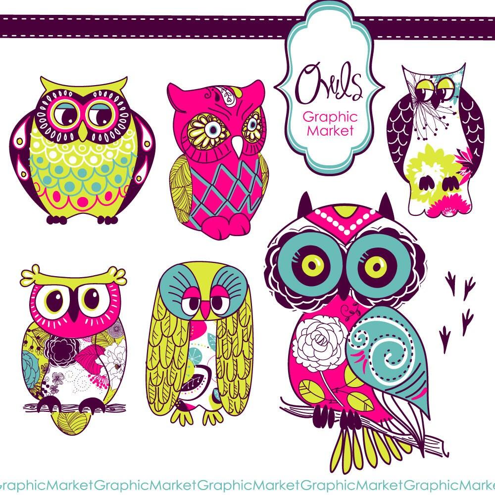 6 Owls clip art and digital elements set