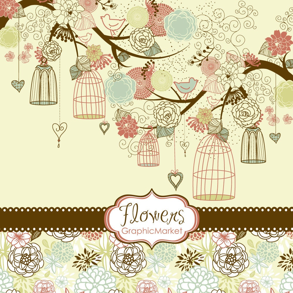 Scrapbook paper designs to print - 14 Flower Designs Digital Paper And A Floral Border Clipart For Scrapbooking Wedding Invitations Personal And Small Commercial Use