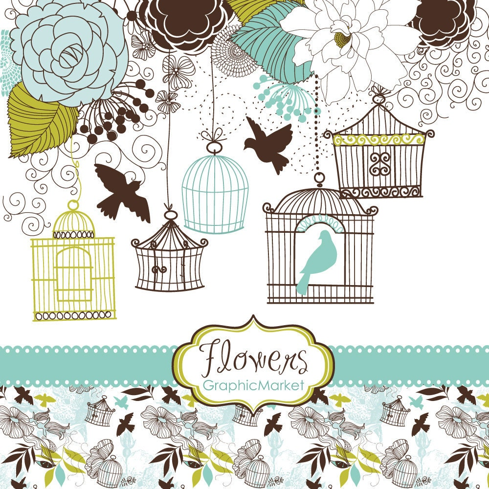 14 Flower Designs Digital Paper And A Floral Border Clipart