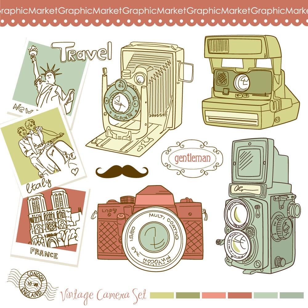 15 hand drawn vintage camera and digital clip art set vintage camera clip art free free vintage camera clipart