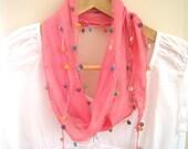 Scarf-Pink-turkish traditional scarf-Turkish Handmade Shawl With Oya-Spring Trends-Mediterranean-FREE Shipping
