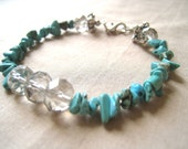 Mediterranean-turquoise bracelet,stone beaded,sterling silver-czech crystal-FREE Shipping