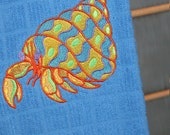 Embroidered Caribbean Blue Hermit Crab Dish Towel
