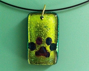 Fused Dichroic Glass Pendant with Copper Paw Print Inclusion