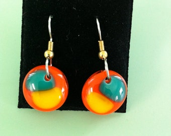 Brightly Colored Fused Glass Earrings