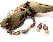 Jasper, Citrine, & Amber Bracelet and earring set
