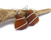 Brown Sea Glass wire wrapped earrings