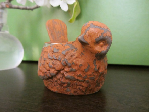 Rustic Sparrow Bird Tealight Holder
