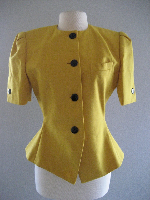 50% OFF SALE Vintage Yellow Pin-Up Coat