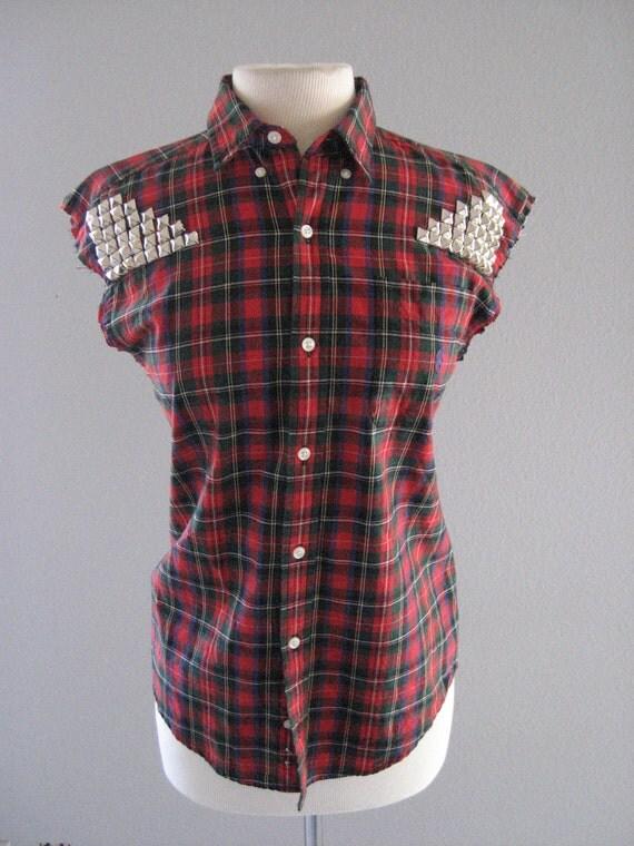Vintage Red Plaid Rockabilly Studded Unisex Shirt Vest