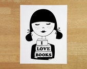 Book lover art print 4x6