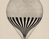 Hot Air Balloon Engraving Digital Image Download Vintage Image Transfers For Pillows Clothing Tea Towels Tote Bags No. 105