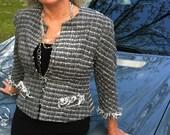 boucle jacket size4-6 customsizes plus sizes Chanl inspired frenchtailored silklined chainhem 3/4sleeve hip length fringe trim hook closure
