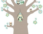Wallpaper tree with a lovely owl family and flowers (two color variations)