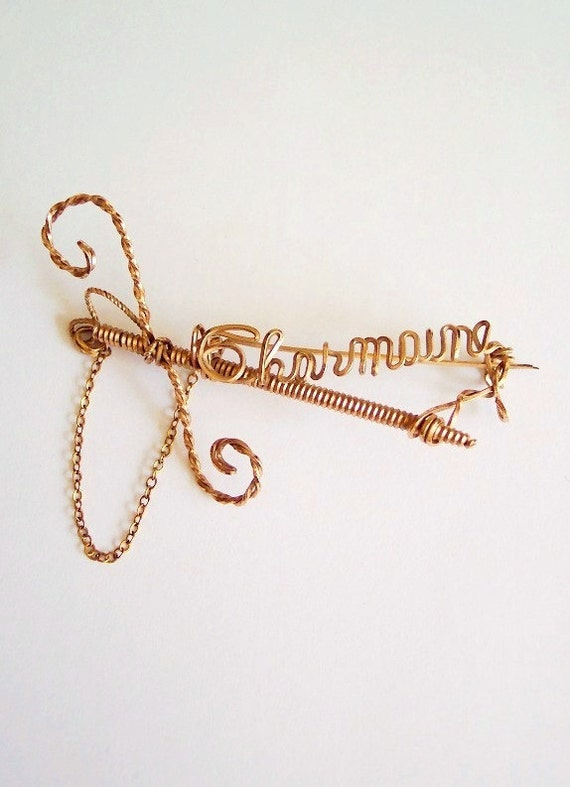 Charmaine Antique 1930s 1940s Gold Filled Wire Sweetheart Name with Sword Stick Pin