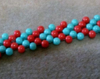 Lovely bead bracelet - Coral , Turquoise