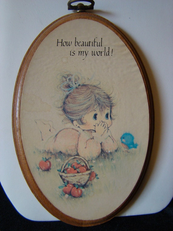 Precious Moments Plaque, How beautiful is my world, Adorable