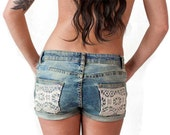 70s style vintage denim shorts with lace