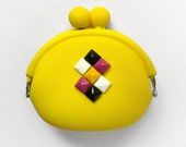 Yellow studded geometric silicon coin purse cute girly