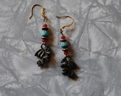 Turquoise and red dragon earrings