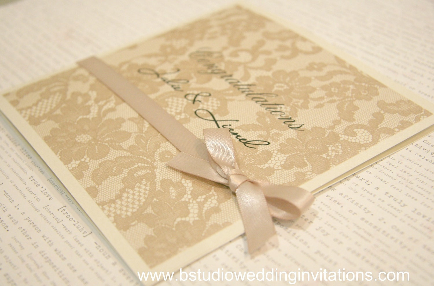 Congratulations Wedding Card Dusty Pink Square Size