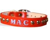 Personalized Leather Dog Collar Hand Painted-Custom Made