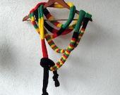 Rasta Scarf - Bob Marley - Reggae - Skinny Scarf - knitted -Knit Scarf Necklace