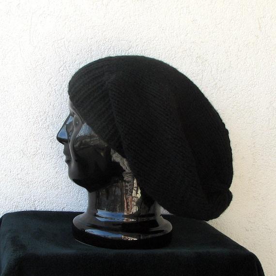 Black Hand Knitted Slouchy Beanie Tam Dreads Hat Unisex Beanie