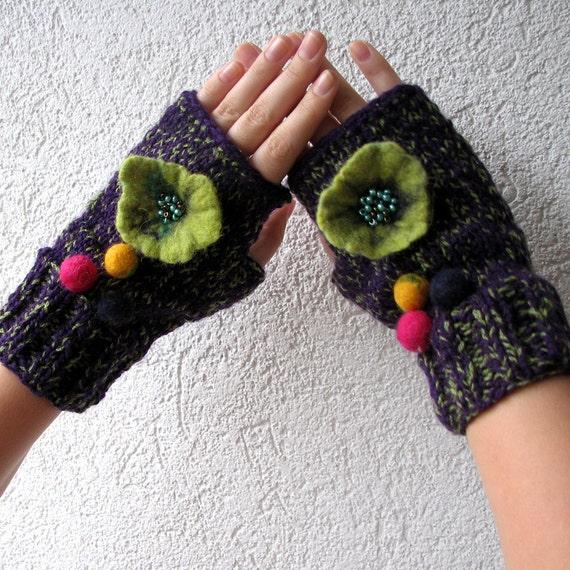 Fingerless Gloves Mittens  violet and green gloves