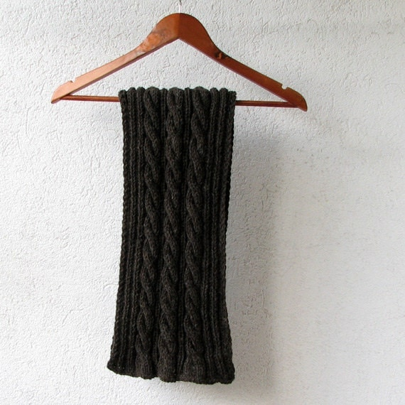 Dark Grey hand knitted men long scarf by AlbadoFashion on Etsy Hand Knitted Men's Scarves