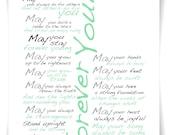 Bob Dylan Forever Young FULL Lyrics A4  Print